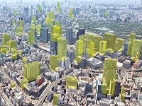 施工実績数は3000棟以上!上空から都心を見渡せば、同社のコンクリート外壁が使われているビルをたくさん見つけることができます!(写真黄色部分は東京駅付近の同社施工建物です)