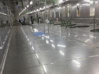ステンレス床は洗浄性・抗菌性抜群。「HACCP」やISO22000認定工場での衛生管理に対応しています。