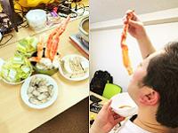 ミーティングの後は、恒例の鍋パーティーを開催します!この日は、高級なカニ鍋を楽しみました!