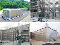 https://iishuusyoku.com/image/ビルの屋上や学校の敷地内でみかけるステンレスパネルタンク。全国6つの工場を構え、自社で一貫して製造〜設置・メンテナンスまで行っています。