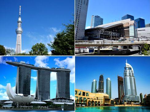 数多くの実績は、トップメーカーとしての信頼の証。東京スカイツリー、大阪駅周辺、シンガポールのマリーナベイサンズ、ドバイ市街地など、世界の著名な建築物に、同社の技術が使われています。