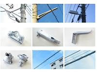 <日本の電柱の25%のシェアを誇ります> バンドや突出し金物、らせん状ハンガ…電線・電柱にて、同社の金属製品が活躍しています!