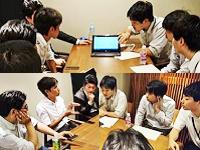 https://iishuusyoku.com/image/帰社日のミーティング風景。今回の議題は、お楽しみの《社員旅行》について。チームで案を出し合います!
